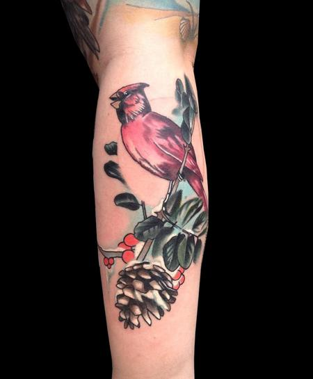 Tattoos - snowy cardinal and pine cone  - 91173