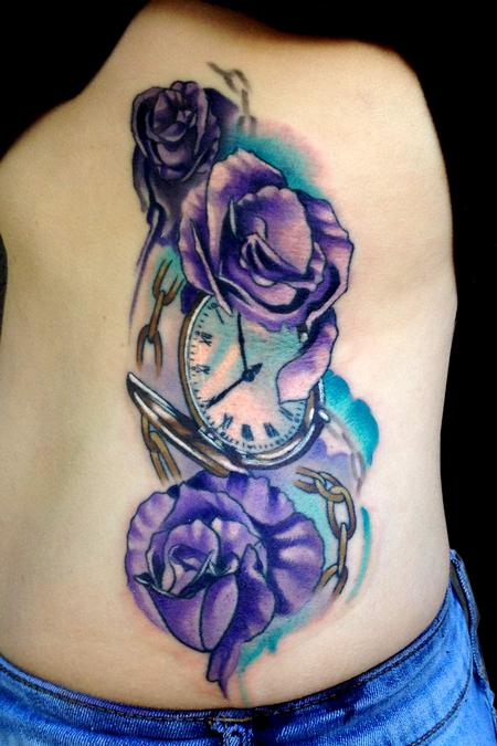 Tattoos - pocket watch and roses - 91369