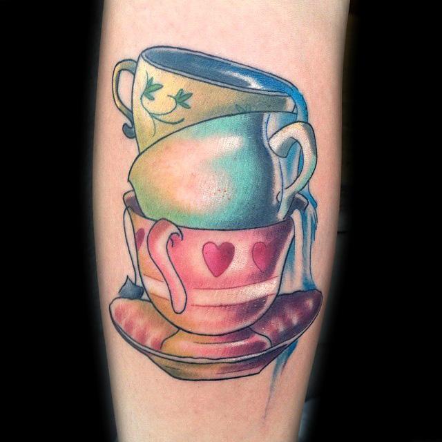 Stacked tea cups by Daniel Adamczyk: TattooNOW