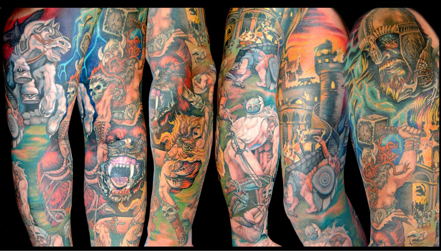 Off the map tattoo tattoos cartoon viking sleeve for Viking sleeve tattoos