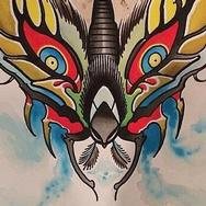 Tattoos - Ghost Krampus moth watercolor  - 92058