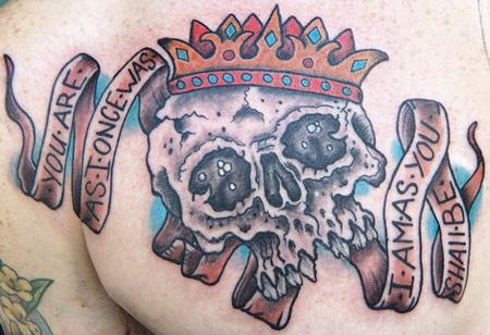 Tattoos - Skull Crown with Banner - 98770