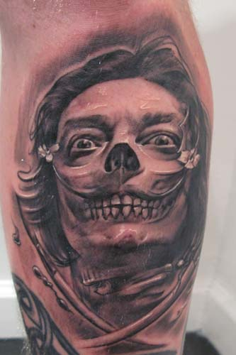 Tattoos - Salvador Dali skull and crossbones tattoo - 30820