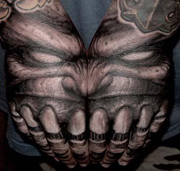 Tattoos - Demon with teeth hand tattoo - 28915