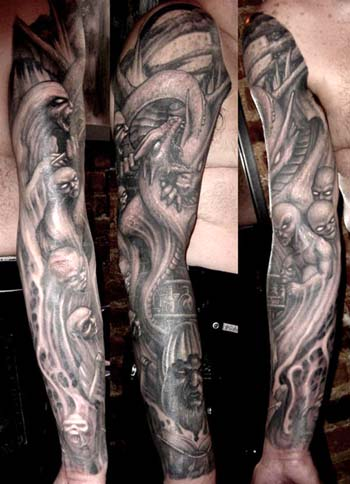 Paul Booth - Dragon and demons sleeve tattoo