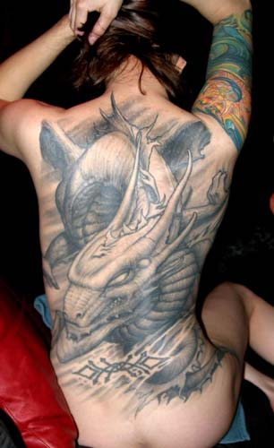 Full Back Tattoos Wings. Winged dragon full back tattoo