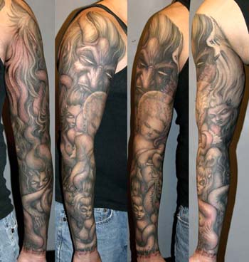 Tattoos - Demon with angels and succubi sleeve tattoo - 28926