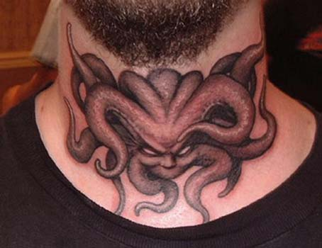 Tattoos - Demon tattoo on throat - 28940