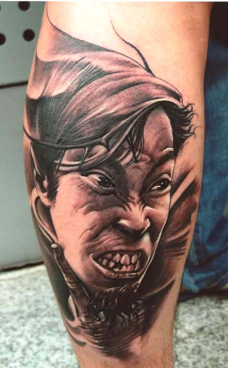 Asian male portrait tattoo by little dragon tattoonow for Little dragon tattoo