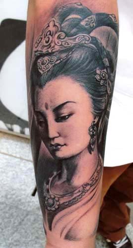 Asian female portrait tattoo by little dragon tattoonow for Little dragon tattoo