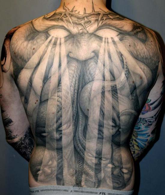 crown of thorns demon back piece tattoo by paul booth