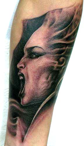 Tattoos - Screaming female profile portrait tattoo - 28897