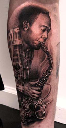 Tattoos - Saxophone player portrait tattoo - 28900