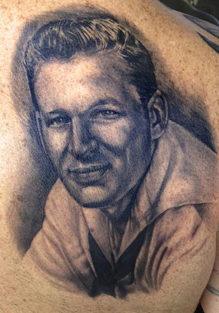 Grandfather's Navy portrait Tattoo Design Thumbnail