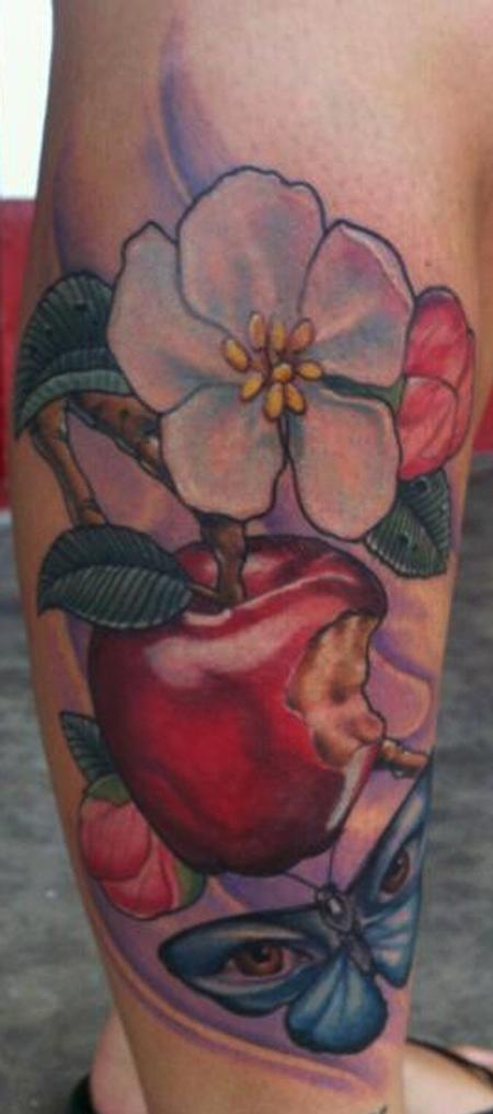 Tattoos - Apple and Flowers - 81125