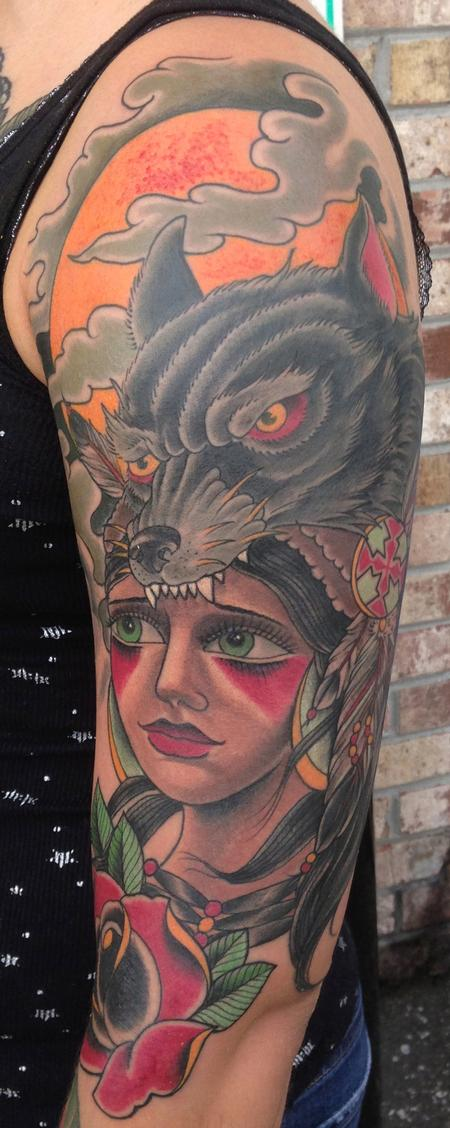 Indian girl and wolf head by bart andrews tattoonow for Indian woman tattoo