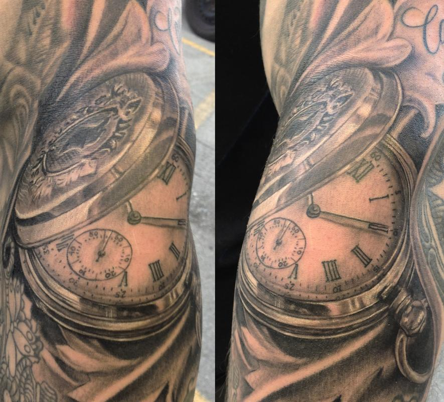 Pocket watch on forearm by bart andrews tattoonow for Pocket watches tattoos