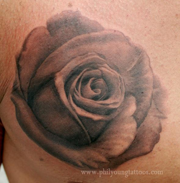 Black and grey rose tattoo by phil young tattoonow for Black and gray rose tattoos