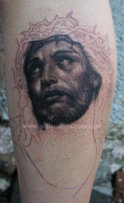 Phil Young - Jesus tattoo portrait in progress