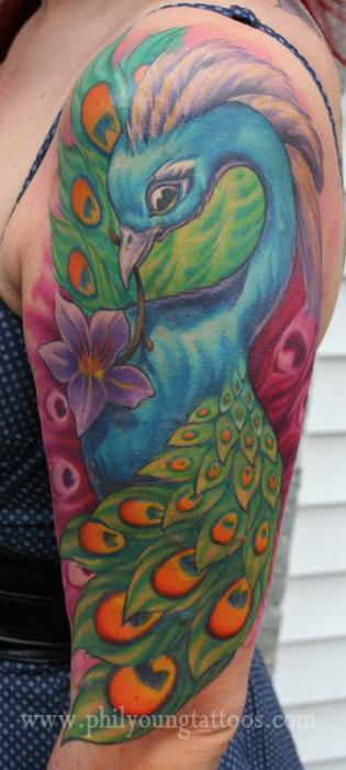 Phil Young - peacock tatto