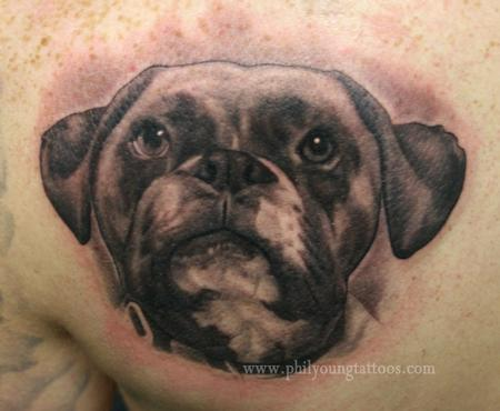 Phil Young - Puppy dog tattoo portrait