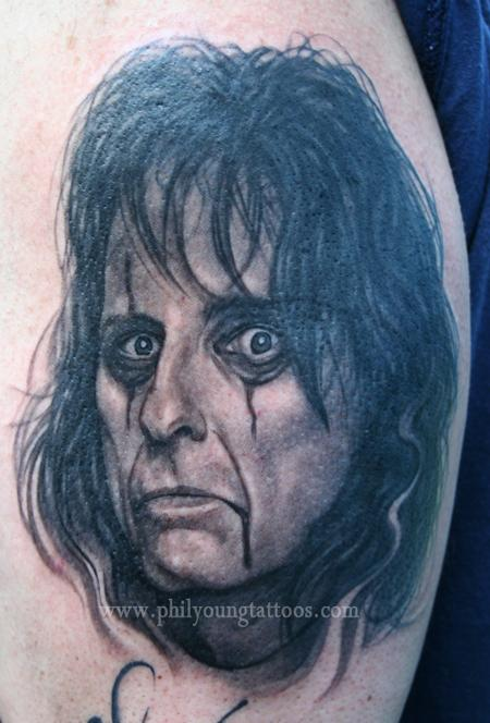 Phil Young - Alice Cooper tattoo portrait