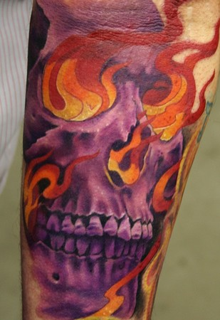 Phil Young flaming skull