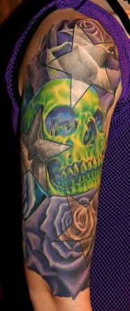 Phil Young - Skull and Roses half-sleeve