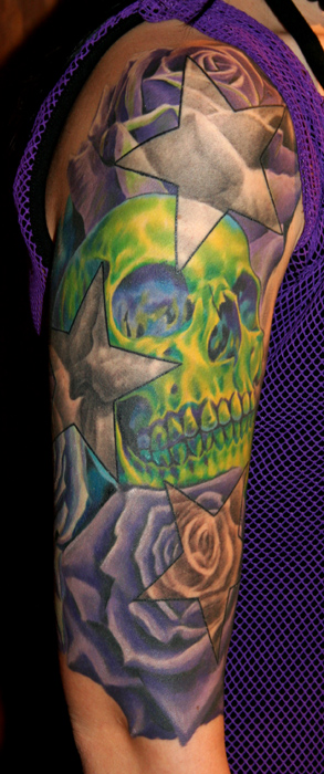 skull and roses half sleeve by phil young tattoonow. Black Bedroom Furniture Sets. Home Design Ideas