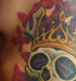Tattoos - Crowned side skull w/butterflies - 29252