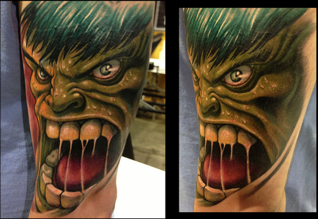 Angry hulk by picasso dular tattoonow for Picasso tattoo artist