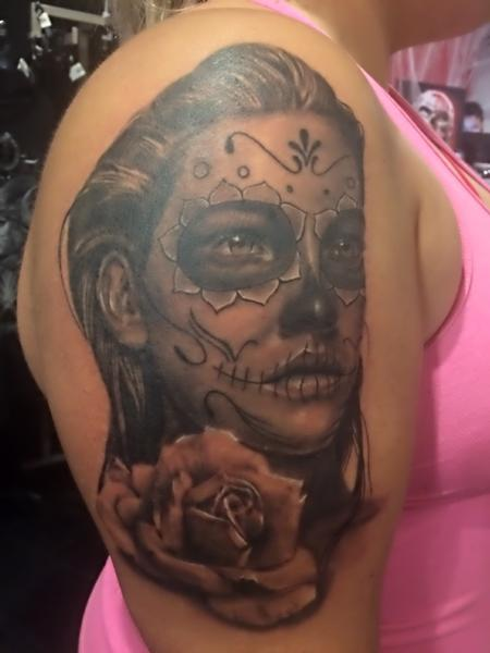 Tattoos - Day Of The Dead Girl and Rose - 126442
