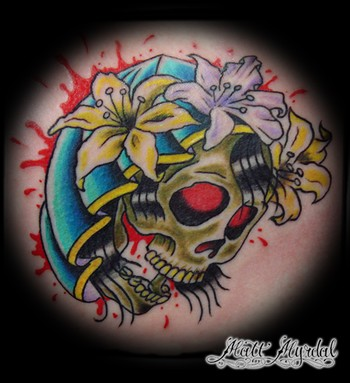 Hooded Skull  Tattoo Design