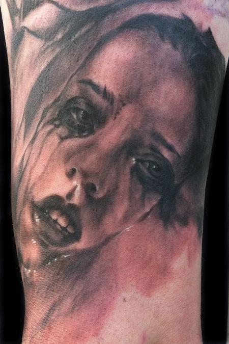 Tattoos - Black and Grey Girl Tattoo - 68077