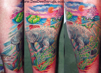 Looking for unique  Tattoos? Manatee Seascape