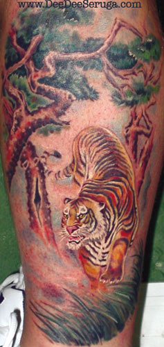 Looking for unique  Tattoos? Tiger in the Brush