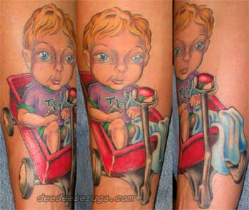Dee Dee - Little boy in red wagon color tattoo
