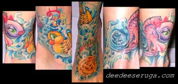 Looking for unique  Tattoos? flower fish rubber ducky in water color tattoo