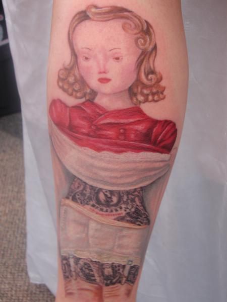 Tattoos - new school tattoo of a girl by mario sanchez - 55079