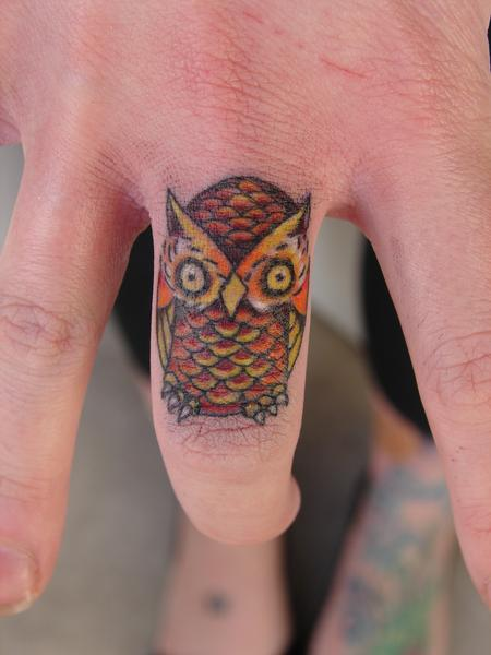 Tattoos - miniature new school owl by mario sanchez - 55177