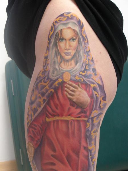 Tattoos - realistic virgin mary close up by mario sanchez - 55077