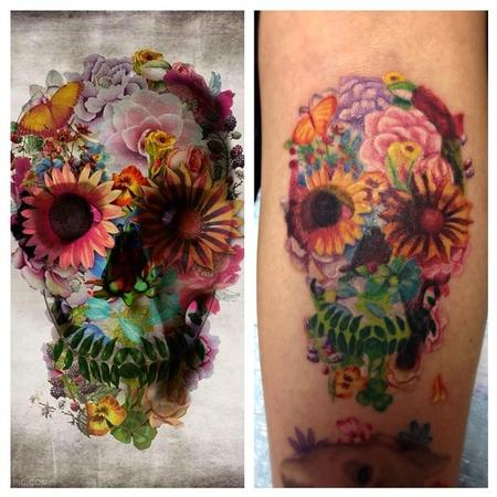 skull flower face Tattoo Design Thumbnail