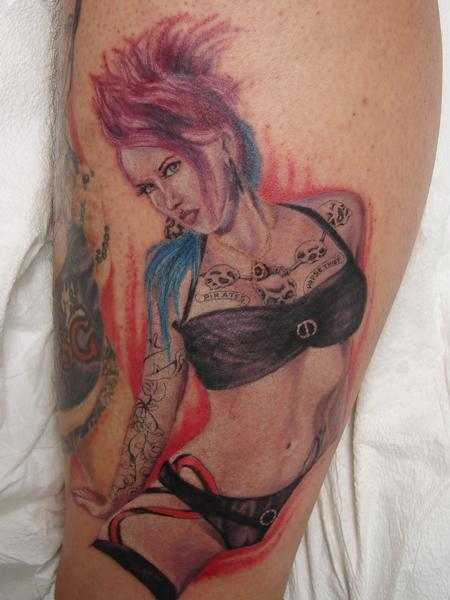 Tattoos - rocker girl tattoo by mario sanchez - 55084