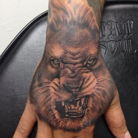 Tattoos - lion hand piece - 97683