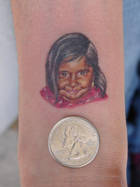 Tattoos - miniature portrait of girl by mario sanchez - 55168