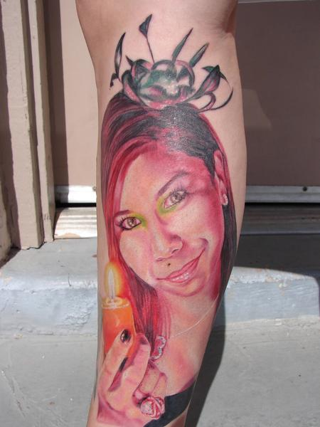 Tattoos - portrait of a girl with candle by mario sanchez - 55059