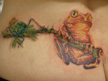 Tattoos - realistic frog and grasshopper by mario sanchez - 55061