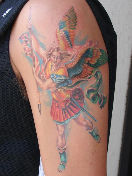 Tattoos - realistic st. michaels angel by mario sanchez - 55063