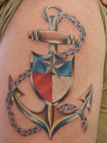Tattoos - realistic anchor with texas flag by mario sanchez - 55065