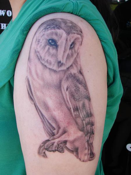 realistic owl by mario sanchez Tattoo Design Thumbnail